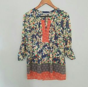 Daniel Rainn floral pleated blouse M